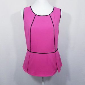 Calvin Klein Pink/Black Back Zip Top w/Peplum -NWT
